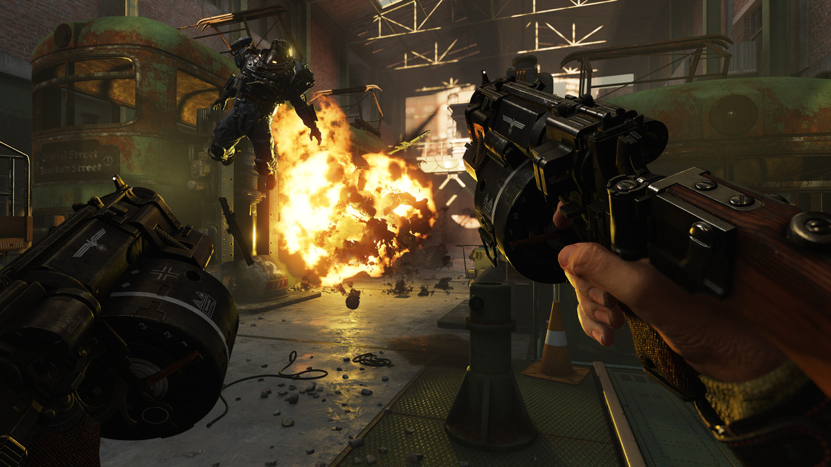 Wolfenstein 2: The New Colossus - Kampfpistole grenade launcher blowing up armored Nazis