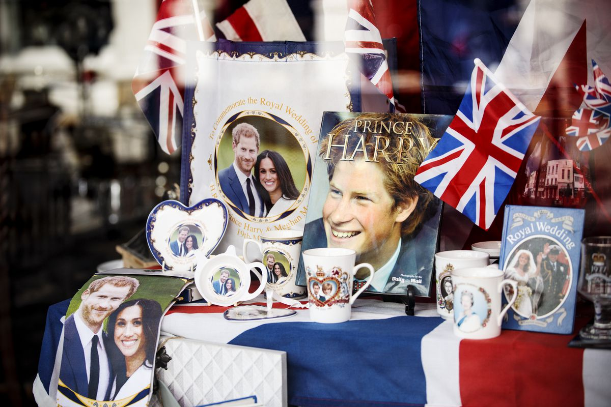 A window display commemorates the upcoming wedding of Prince Harry and Meghan Markle in Windsor, England.