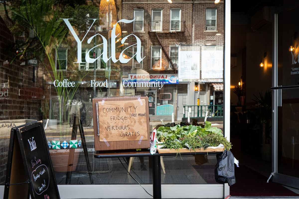 A community fridge offering free food for neighbors in front of Yafa Cafe in Sunset Park
