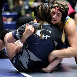 Cheyenne Ruiz of Taylorsville, wrestles and defeats Emma Williams of Copper Hills in the 190 class as girls compete for the 6A State Wrestling championship at West Lake High in Saratoga Springs on Monday, Feb. 15, 2021.