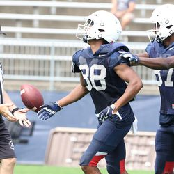 UConn's Josh Tracey #88 celebrates with Cameron Hairston #87 during the Huskies open practice at Pratt & Whitney Stadium at Rentschler Field in East Hartford, CT on Saturday, August 14, 2021.