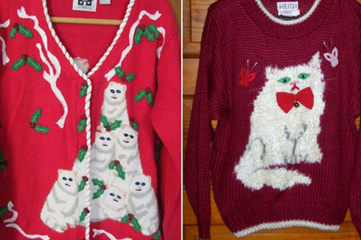 """We can't help wondering what famous fashion cat-lady Miuccia Prada would think. Image via <a href=""""http://blogs.laweekly.com/stylecouncil/2010/12/ugly_christmas_sweaters_cat_ed.php#more"""">LAWeekly</a>"""