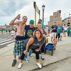 SOUTH BEND, IN - SEPTEMBER 01: Notre Dame Fighting Irish fans partake in tailgate party mode prior to game action during the NCAA football game between the Michigan Wolverines and the Notre Dame Fighting Irish on September 1, 2018 at Notre Dame Stadium, in South Bend, Indiana. The Notre Dame Fighting Irish defeated the Michigan Wolverines by the score of 24-17.