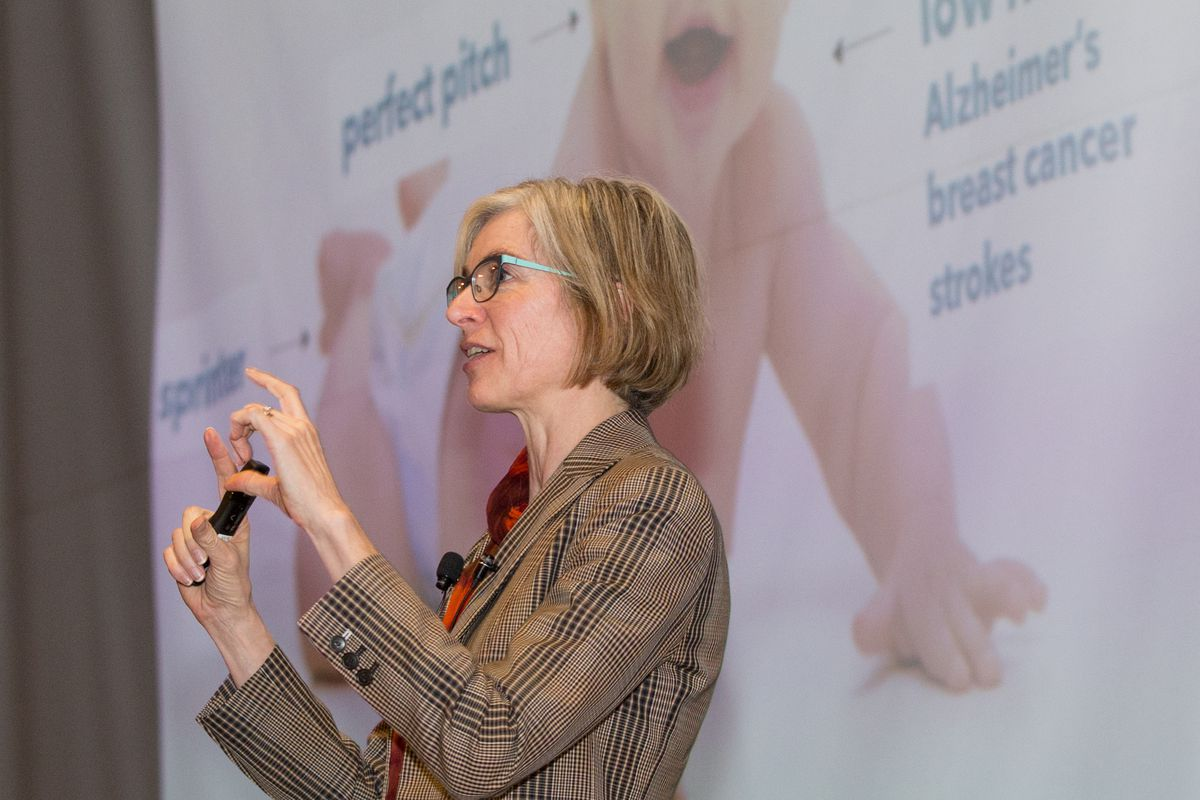 Jennifer Doudna, co-inventor of the CRISPR/Cas9 gene editing technology and professor of biochemistry and molecular biology at the University of California, Berkeley, lectures at the University of Utah on Wednesday, March 21, 2018.