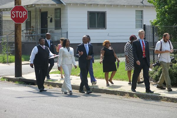 Shelby County Schools Superintendent Dorsey Hopson II tours the neighborhood around A.B. Hill Elementary. He is accompanied by his administrative team as well as SCS Board member Chris Caldwell and members of local media.