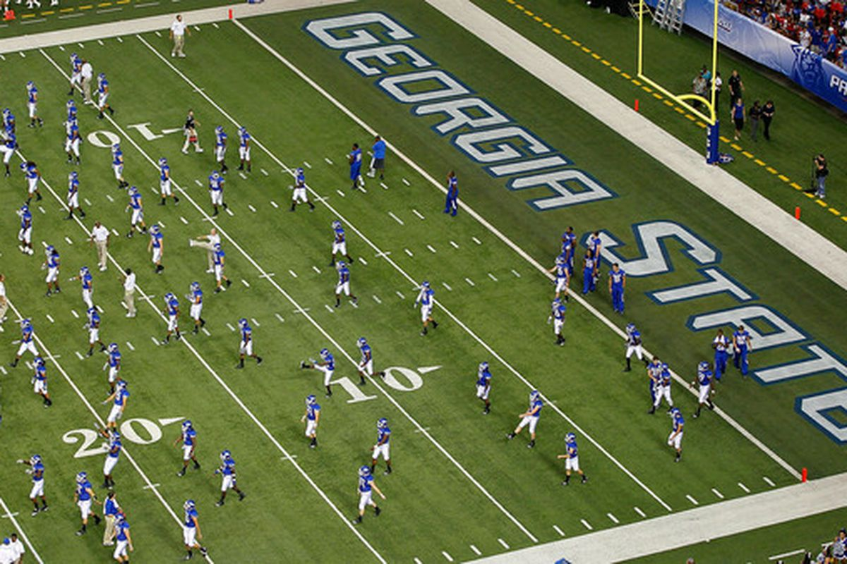 ATLANTA - SEPTEMBER 02:  The Georgia State Panthers stretch before facing the Shorter Hawks at Georgia Dome on September 2 2010 in Atlanta Georgia.  (Photo by Kevin C. Cox/Getty Images)