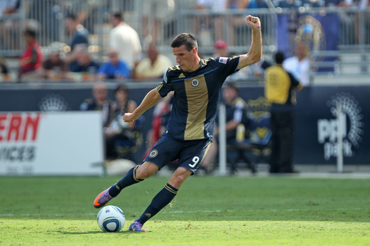 CHESTER PA - JULY 31: Midfielder Sebastien Le Toux #9 of the Philadelphia Union takes a free kick during the game against the New England Revolution at PPL Park on July 31 2010 in Chester Pennsylvania. (Photo by Hunter Martin/Getty Images)