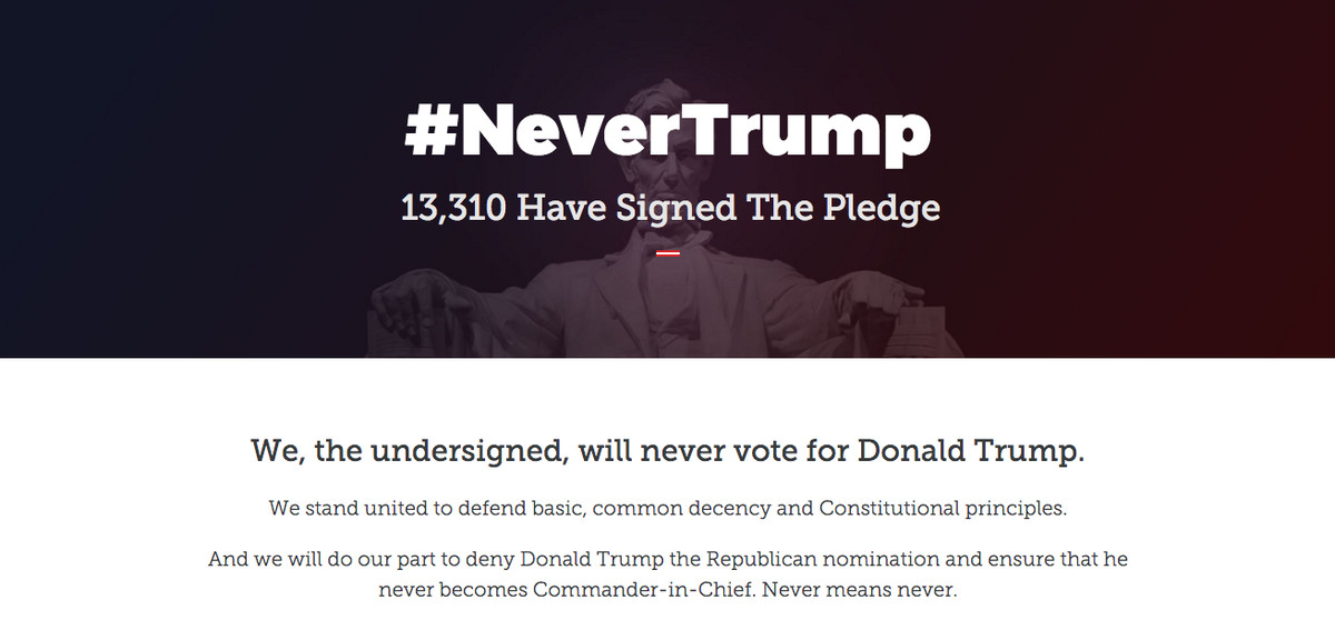 The homepage of the #NeverTrump PAC.