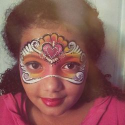 I painted my daughter Zivie today for a run through before my masquerade clients tonight. She is my best model!! I started painting faces at her fifth birthday five years ago and cannot believe where that has taken me. Did I mention that I love my job?