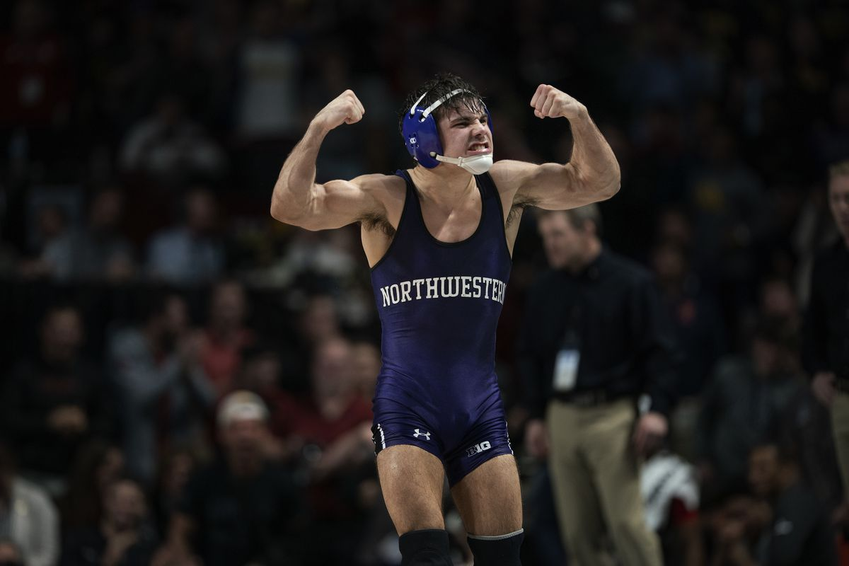 Northwestern Sebastian Rivera celebrated his 125 pound Big Ten Wrestling Championships of Spencer Lee of Iowa at Williams Arena Sunday March10, 2019 in Minneapolis, MN.] Jerry Holt • Jerry.holt@startribune.com