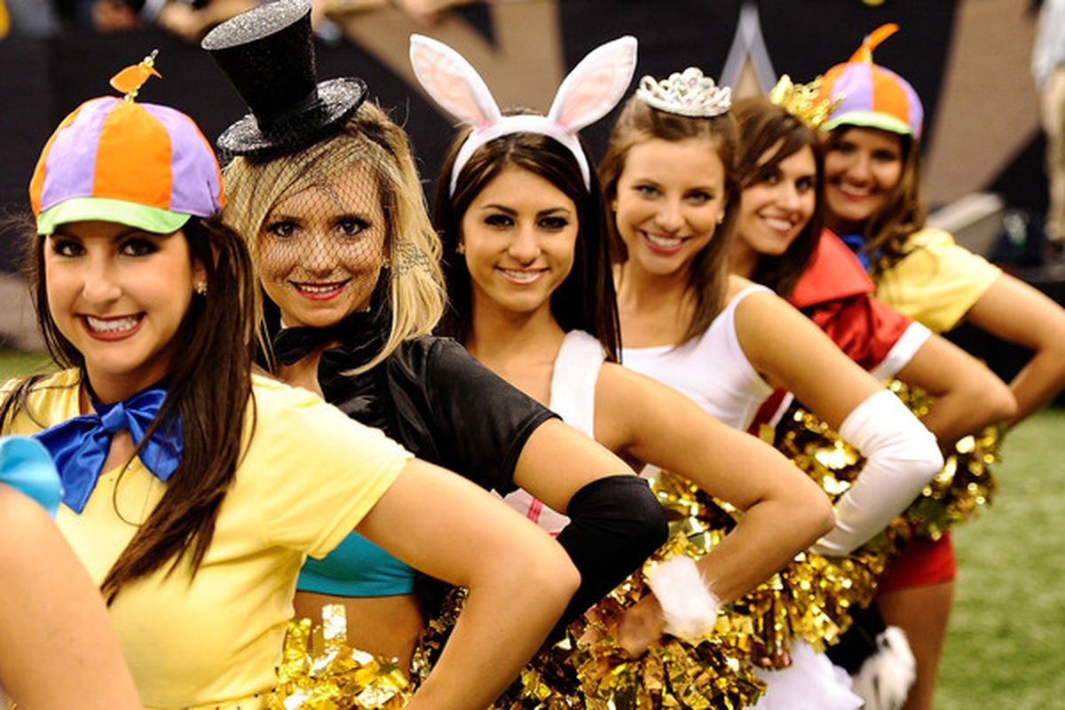 NEW ORLEANS - OCTOBER 31:  New Orleans Saints cheerleaders dress in costume during the game against the Pittsburgh Steelers.