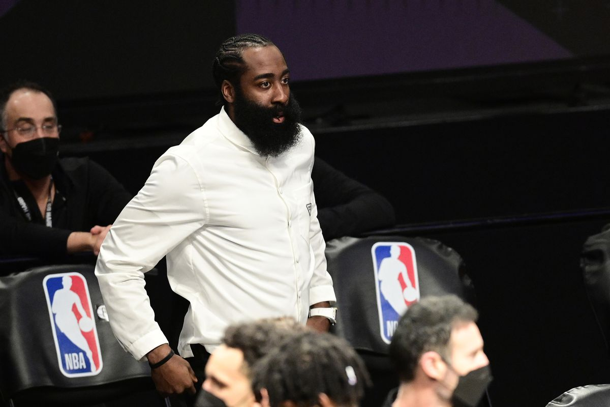James Harden of the Brooklyn Nets looks on from the sideline against the Milwaukee Bucks in Game Two of the Second Round of the 2021 NBA Playoffs at Barclays Center on June 07, 2021 in New York City.