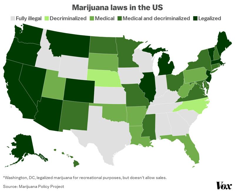 Une carte des lois sur la marijuana aux États-Unis.