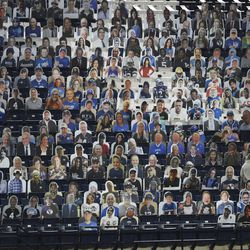 BYU cutout fans displays are displayed in LaVell Edwards Stadium in Provo on Saturday, Oct. 24, 2020.
