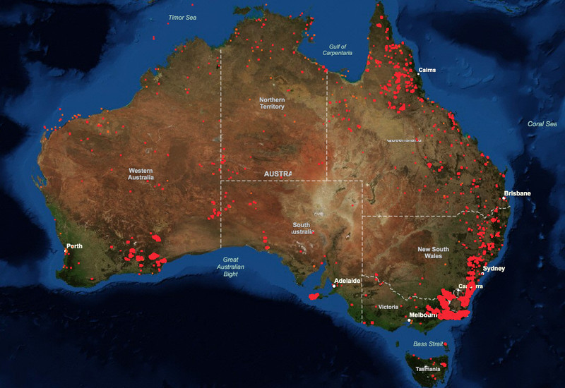 NASA Fire Information for Resource Management System seven-day map of fires in Australia, taken January 8, 2020