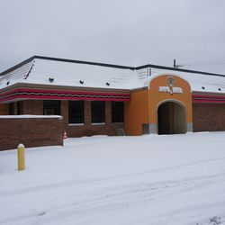 The former Taco Bell building remains standing