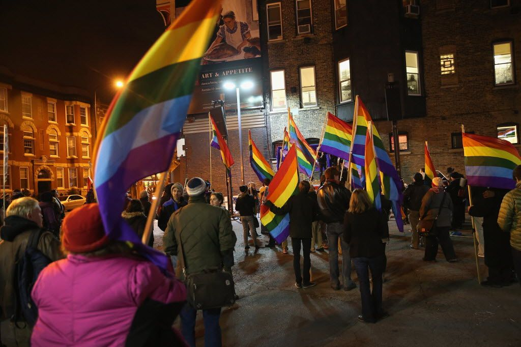 Multi-generational supporters of same-sex marriage gather in Boystown after the Illinois General Assembly passed a marriage equality bill in November 2013.   Getty Images