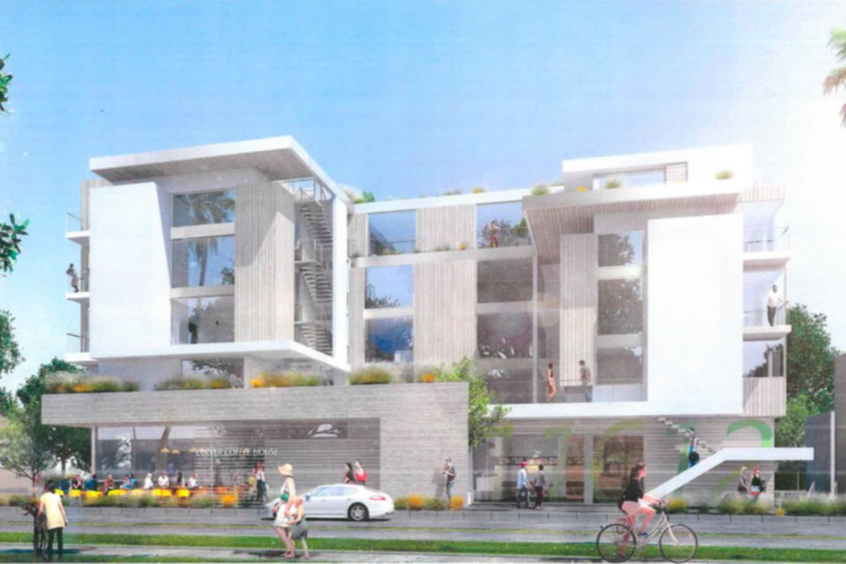 Rendering of white-colored mixed use building