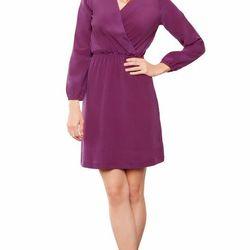 "Karen faux wrap dress, burgundy; was $178, now <a href=""http://www.amourvert.com/karen-faux-wrap-dress-burgundy/"">$121.80</a>"