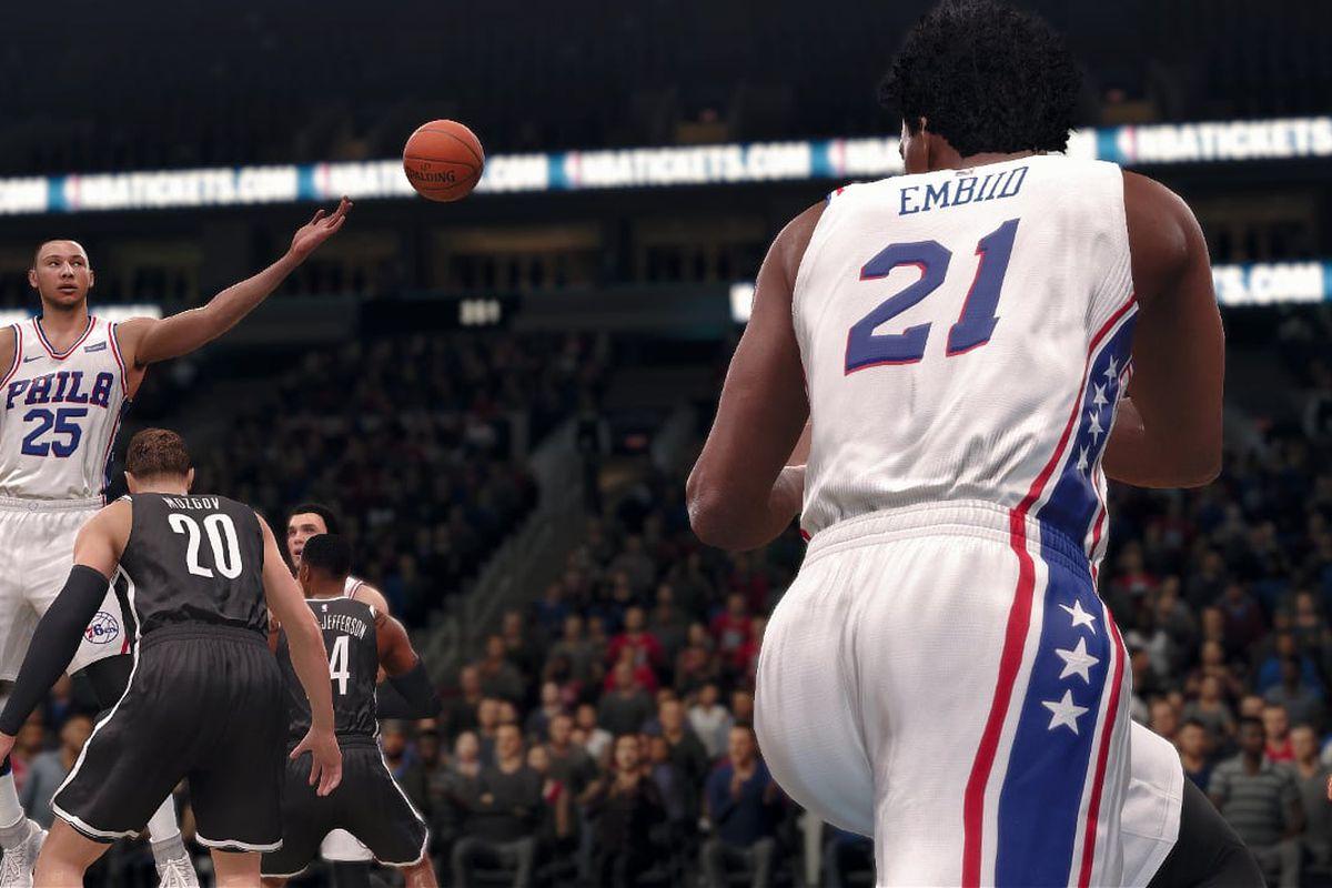 NBA Live 19 - Ben Simmons passes to Joel Embiid