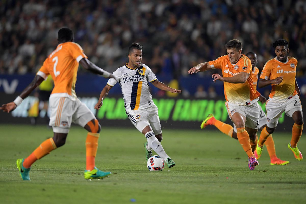 Giovani Dos Santos had a solid outing for LA against the Houston Dynamo