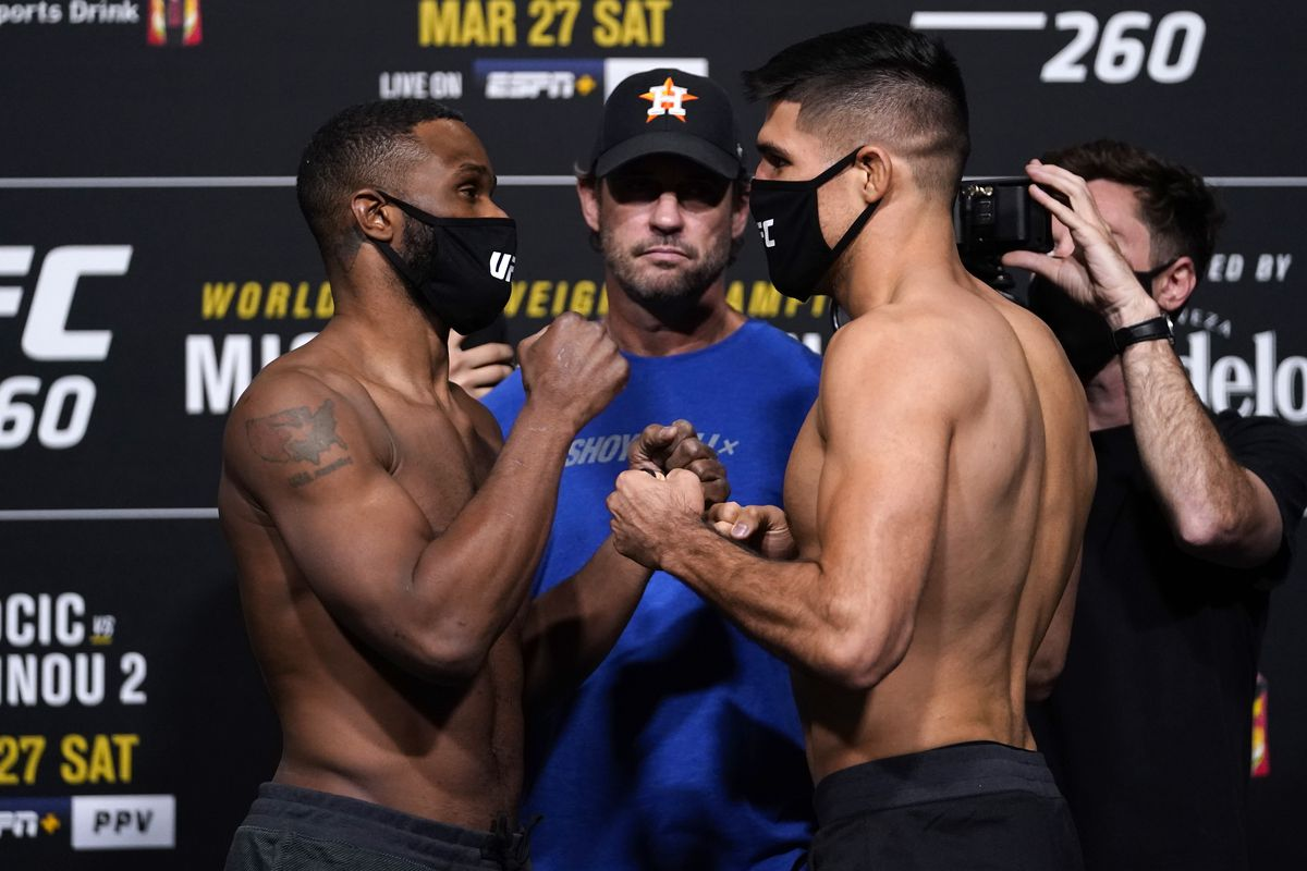 Tyron Woodley and Vicente Luque at UFC 260