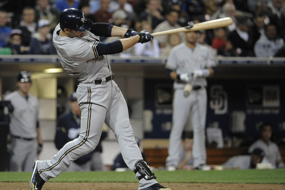 SAN DIEGO, CA - APRIL 30: Ryan Braun hits his first of three home runs Monday night, becoming the first player ever to do that at Petco Park.
