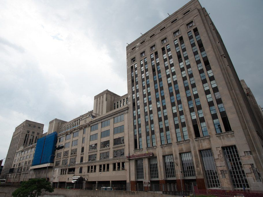 Chicago's Old Main Post Office building seen from the Van Buren Street bridge.
