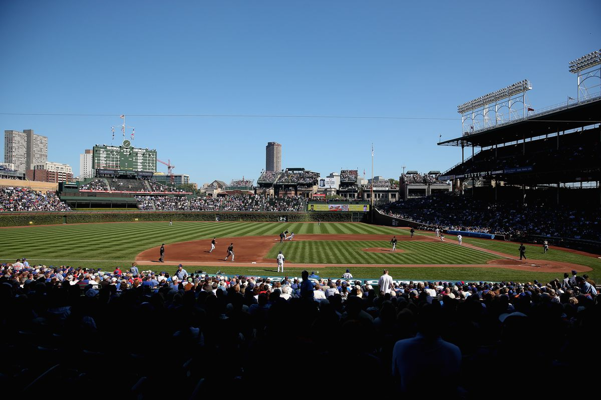 Wrigley Field on the last home game of 2013, preparing for next year