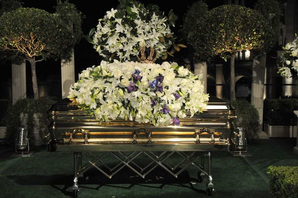In this handout photo provided by Harrison Funk/The Jackson Family, Michael Jackson's casket rests during the funeral service held at Glendale Forest Lawn Memorial Park on Sept. 3, 2009 in Glendale, Calif. | AP Photo/The Jackson Family, Harrison Funk