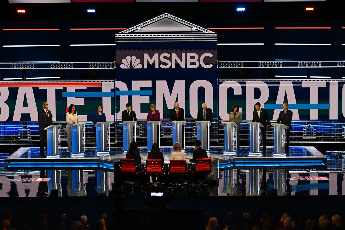 The stage for the Democratic Presidential Primary Debate.