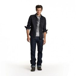 Printed Flag Tee in Gray, $19.99 Plaid Shirt in Blue, $34.99 Twill Shirt in Black, $34.99 Straight Jeans in Rinse Wash, $49.99