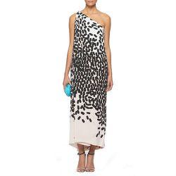 "<b>Diane von Furstenberg</b> Liluye Printed dress, <a href=""http://www.dvf.com/Liluye-Printed-Dress/D5124306F12,default,pd.html?dwvar_D5124306F12_color=FALMN&start=28&preselectsize=yes&cgid=Evening"">$409</a>"