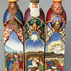 The Three Kings in Jim Shore's Christmas Nativity set tell a story within a story, the artist says.