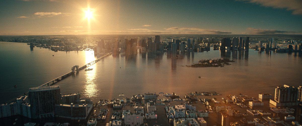 The half-sunken future city of Miami in Reminiscence