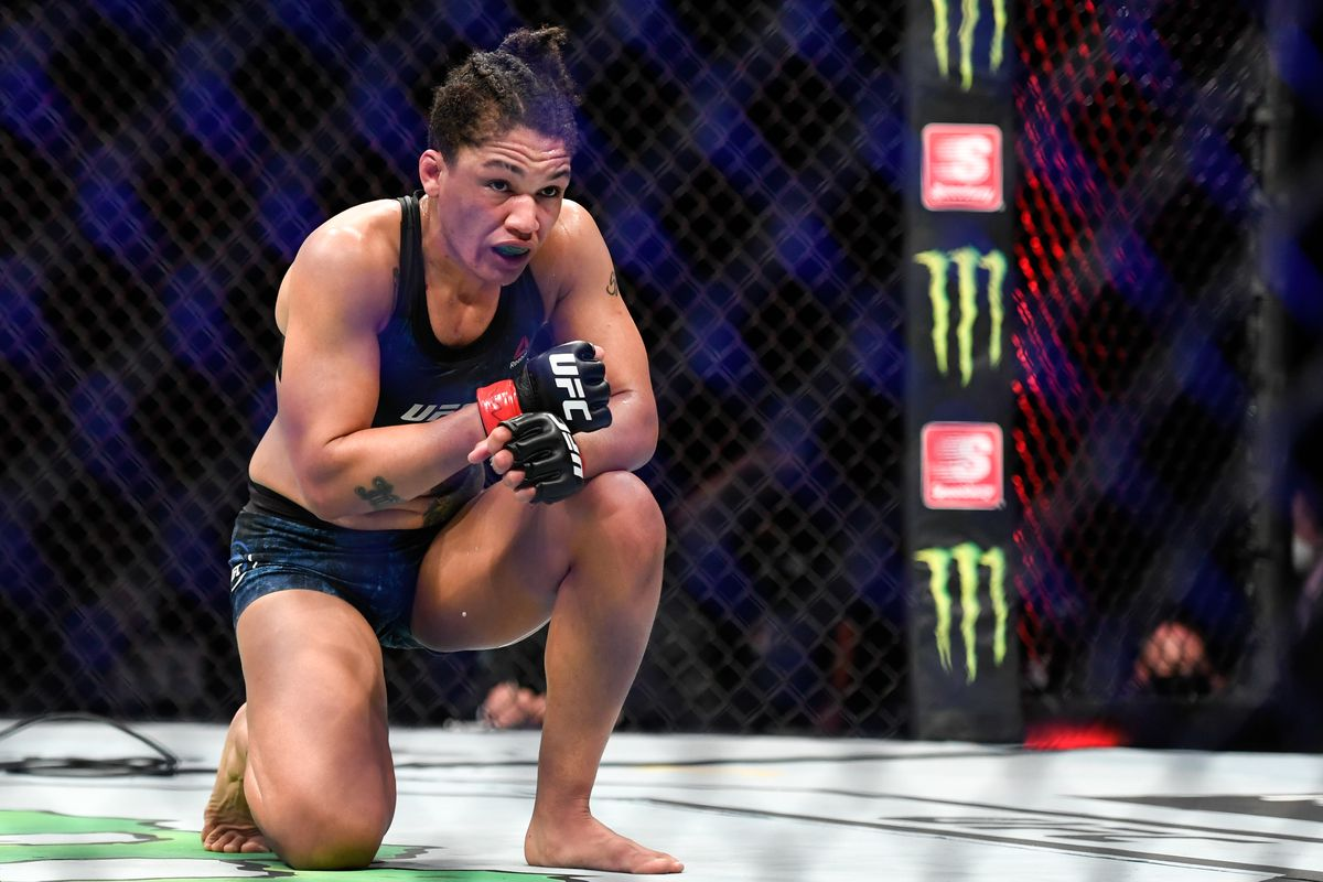 Sijara Eubanks of the United States reacts after the fight against Sarah Moras (not pictured) of Canada in their Women's Bantamweight bout during UFC Fight Night at VyStar Veterans Memorial Arena on May 13, 2020 in Jacksonville, Florida.