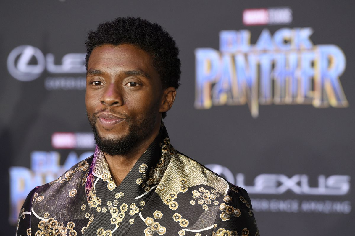 """Chadwick Boseman, star of the """"Black Panther,"""" arrives at the premiere of the film in Los Angeles in 2018."""