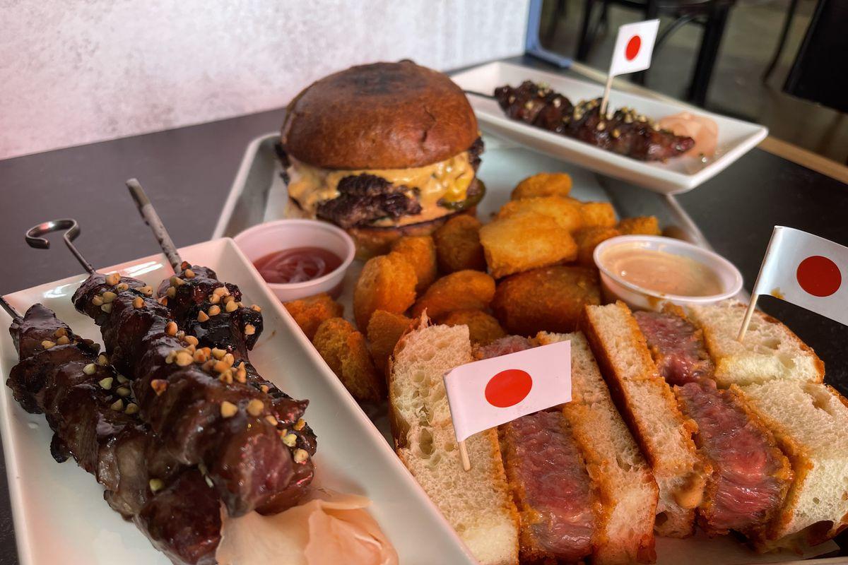 Smashburger, katsu burger, and wagyu beef skewers from Swagyu