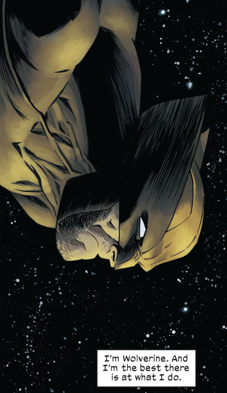 """""""I'm Wolverine. And I'm the best there is at what I do,"""" says a narration as Wolverine plummets sternly through space in X-Men Unlimited (2021)."""
