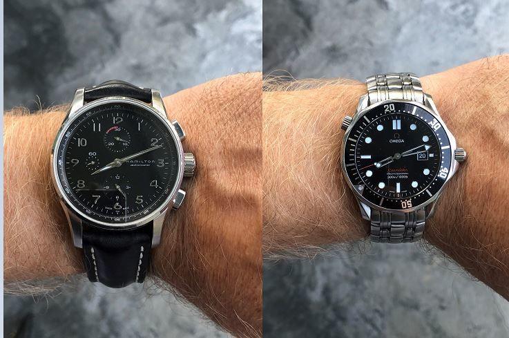 Left: Hamilton automatic Right: Omega Seamaster Professional on Timothy Hollingsworth's wrists.