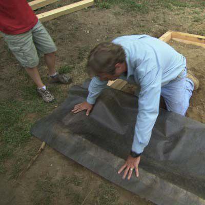 Man Lines Wood Box of Sandbox With Landscape Fabric