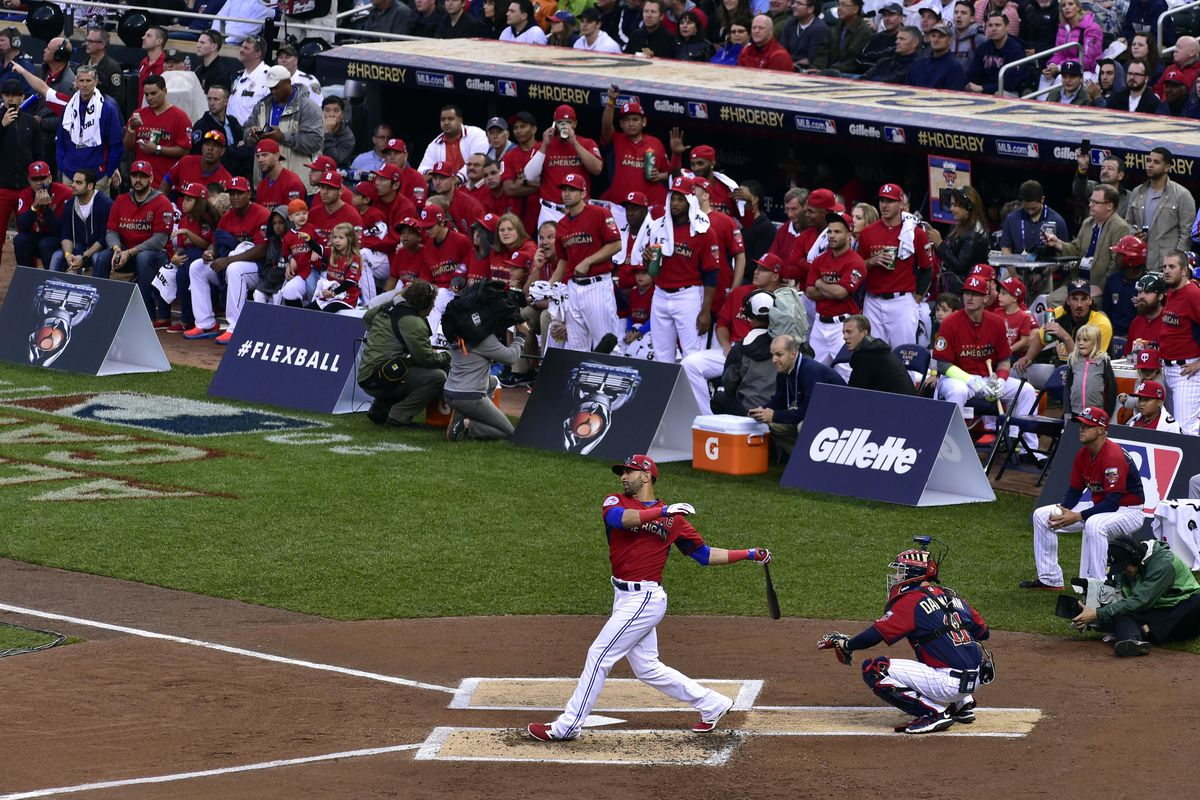 Jose Bautista bats during the 2014 Home Run Derby at Target Field