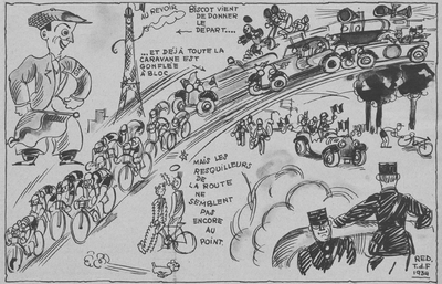 A cartoon from Miroir des Sports depicting the start of the 28th Tour.