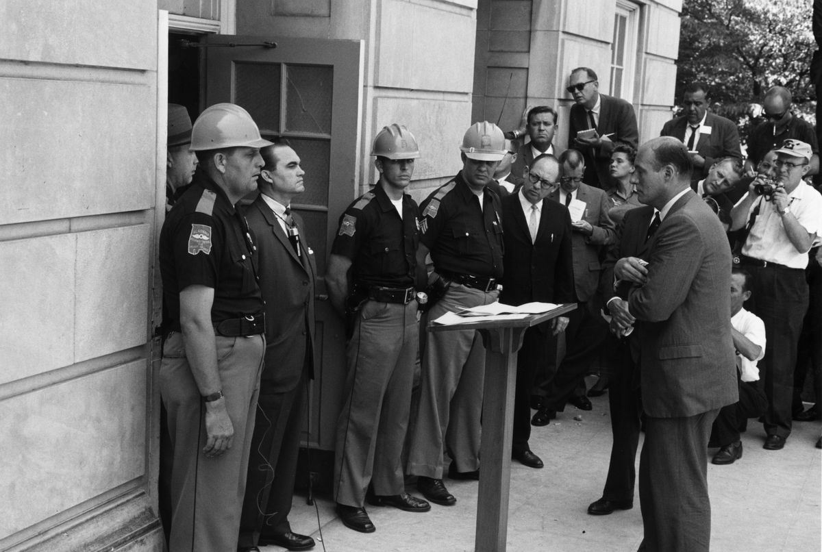 Alabama Gov. George Wallace blocks the door of an administrative building in the University of Alabama.