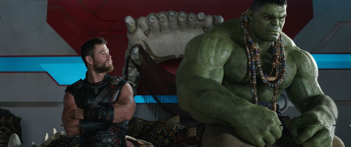 MCU Thor version sitting with Hulk