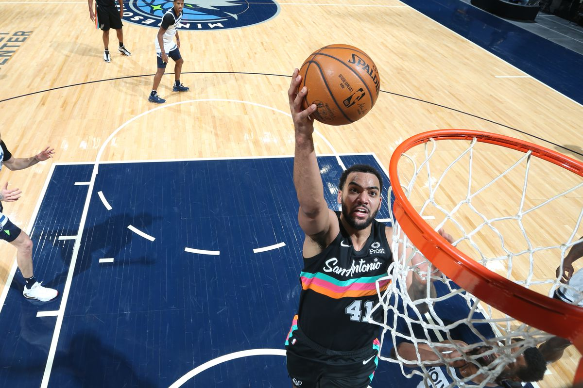Trey Lyles of the San Antonio Spurs shoots the ball during the game against the Minnesota Timberwolves on January 10, 2021 at Target Center in Minneapolis, Minnesota.