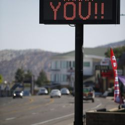A sign thanking firefighters for their efforts in battling the Brian Head Fire are displayed in Cedar City on Friday, June 30, 2017. The evacuation order for Brian Head and Dry Lakes was lifted Friday, 13 days after residents were forced from their homes by the raging fire.