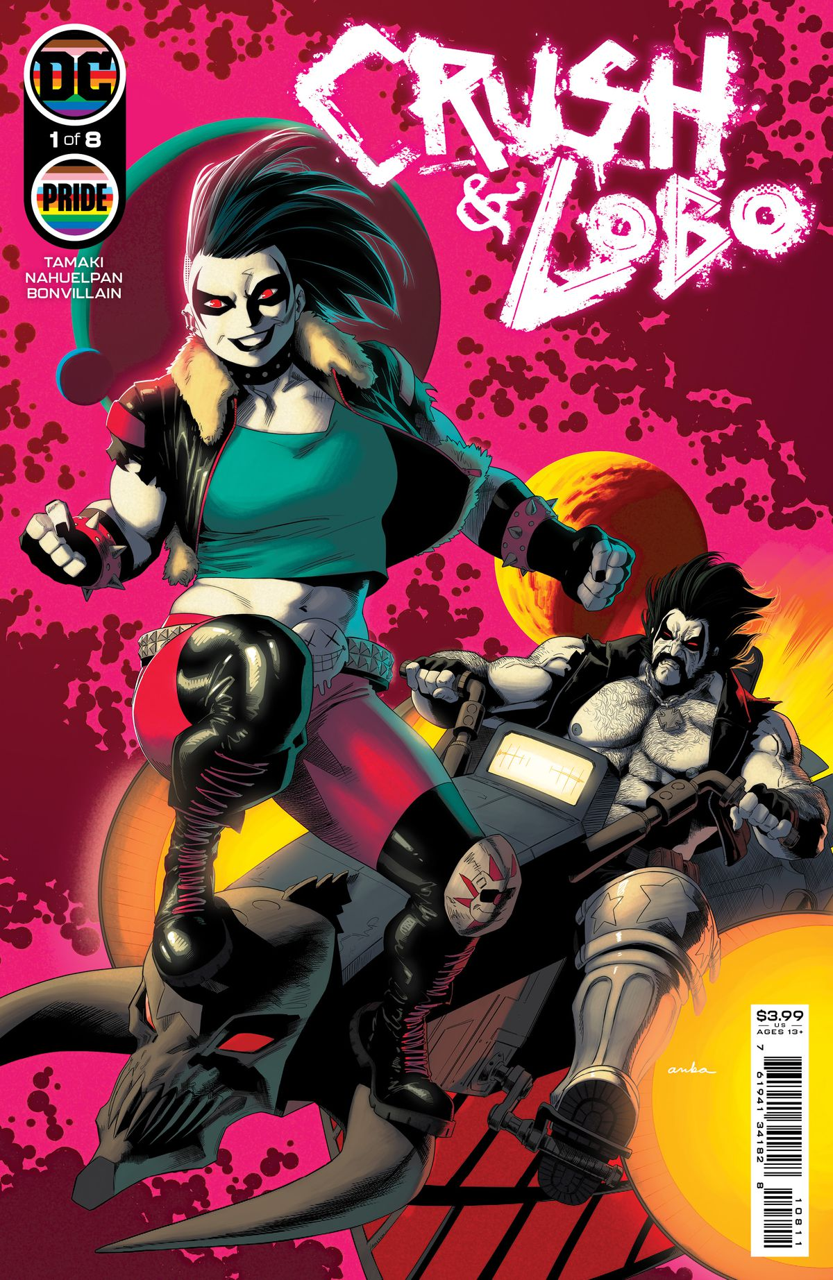 Crush, with her mowhawk and leather jacket, poses on the front of Lobo's space motorcycle, as they zip through the cosmos. Both have the white skin and Kiss-front man type black eye markings of the Tsarnian people, on the cover of Crush & Lobo #1, DC Comics (2021).