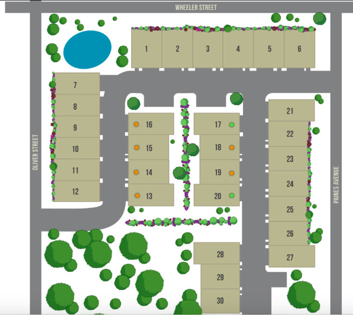 A rendering from an overhead view of a townhome complex.