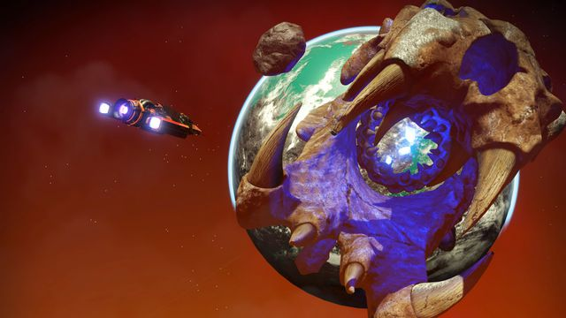 No Man's Sky - a player approaches a giant world, clenched in jaws.